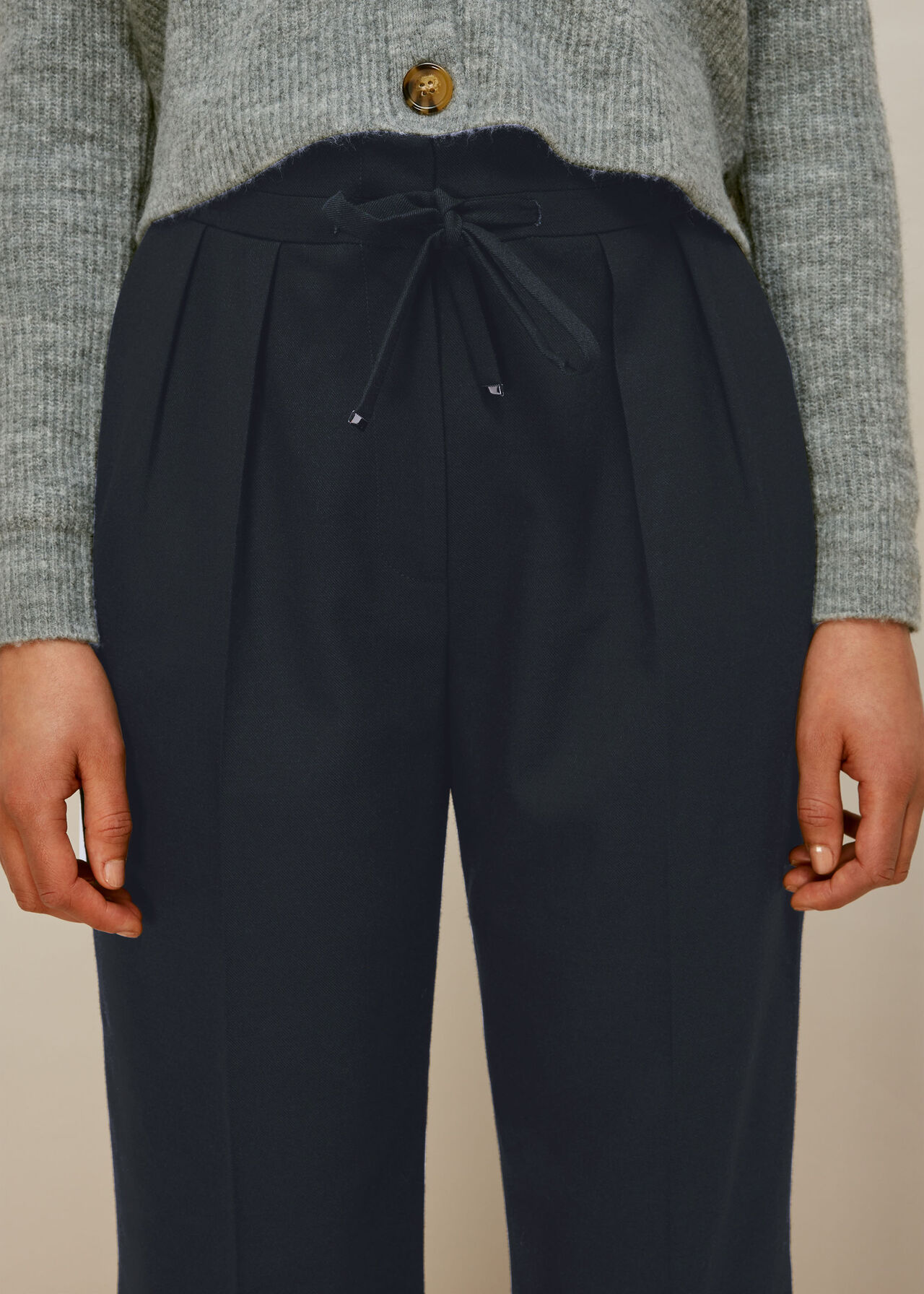 Drawstring Tapered Trouser Navy