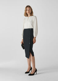 Anita Tailored Pencil Skirt Navy