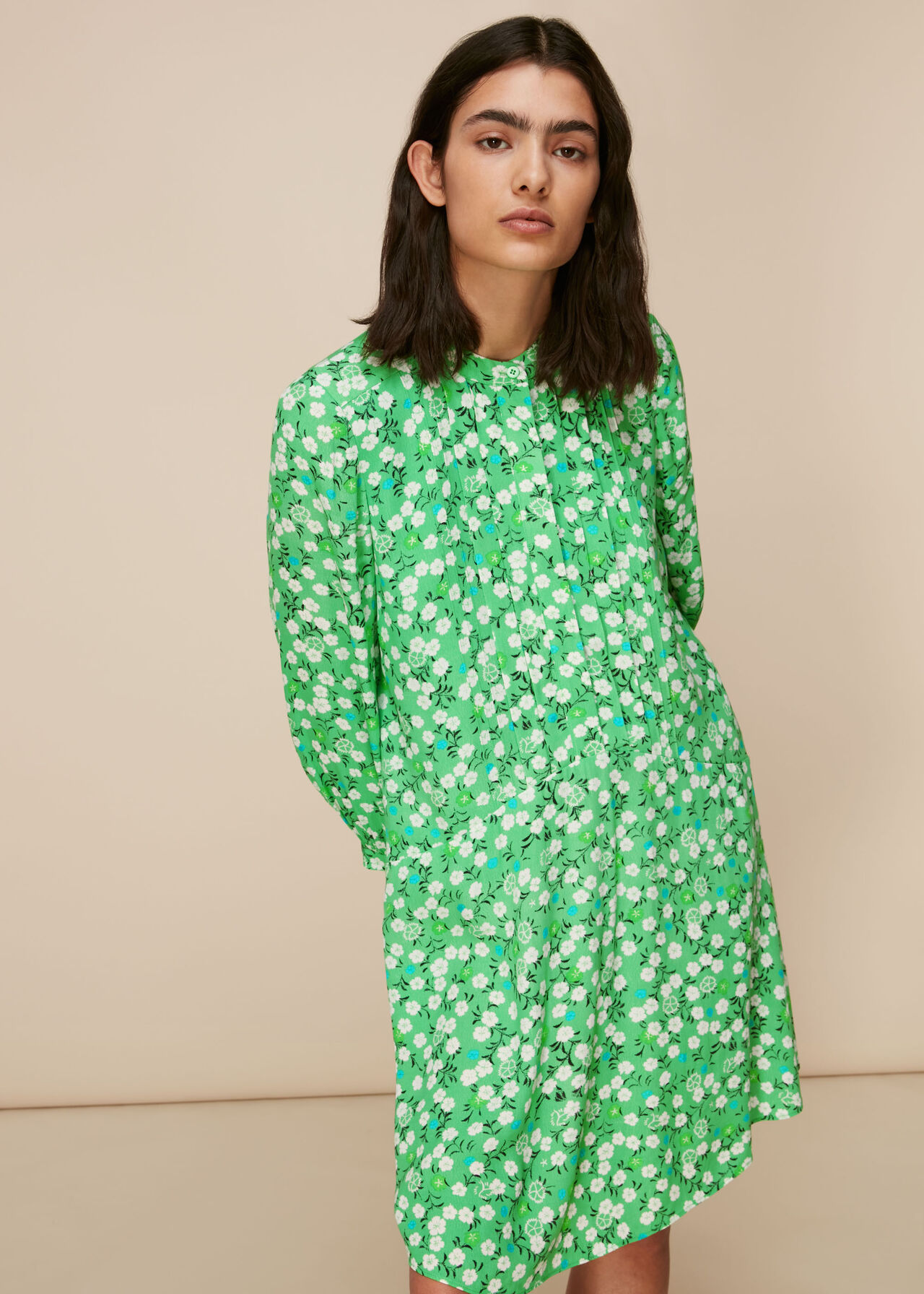 Cherry Blossom Pintuck Dress