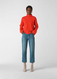 Soft Roll Neck Wool Sweater Flame