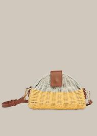Leo Mini Crossbody Straw Bag Yellow/Multi