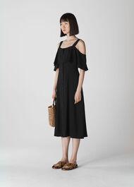 Frill Button Midi Dress Black