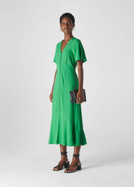 Micro Spot Button Dress Green/Multi