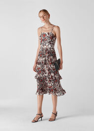 Assorted Leaves Tiered Dress Multicolour