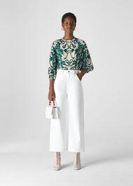 Vivian Baroque Print Silk Top Green/Multi