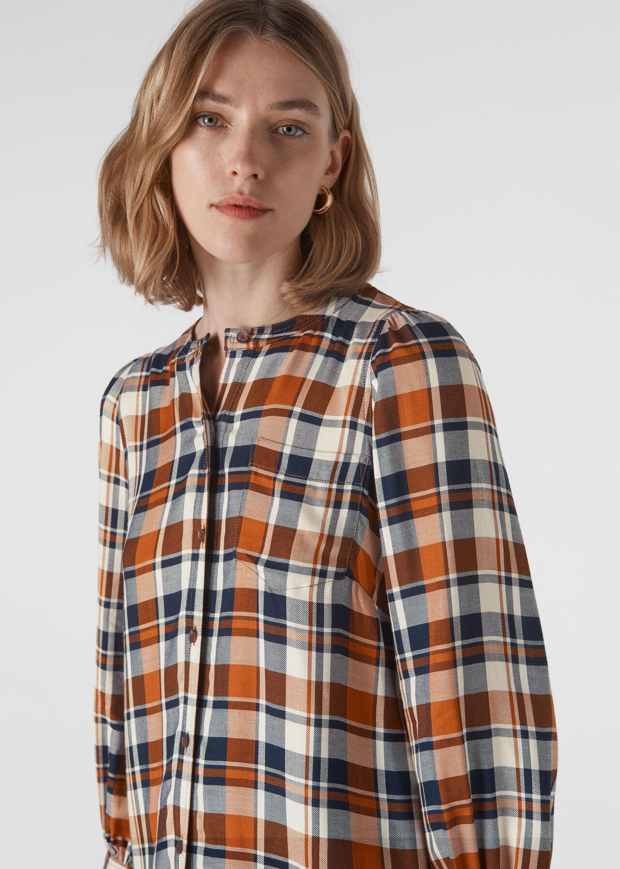 Check Puff Sleeve Shirt Multicolour