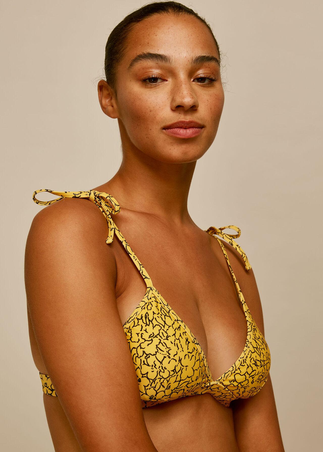 Floral Line Print Bikini Top Yellow