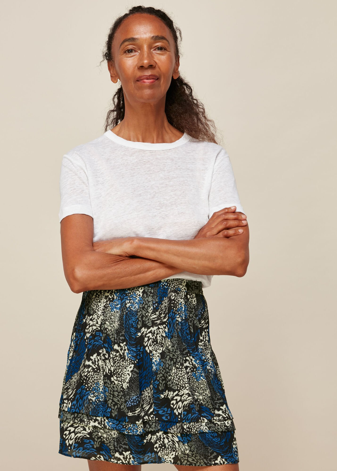Marble Animal Print Silk Skirt