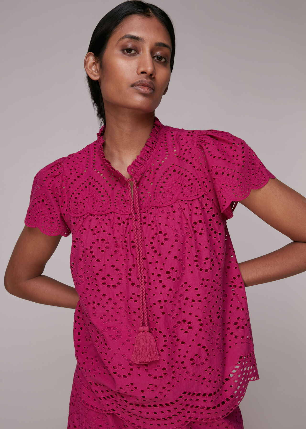 Bonnie Broderie Blouse Pink