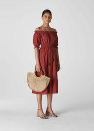 Simma Shirred Waist Dress Burgundy