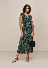 Forest Floral Print Jumpsuit Black/Multi