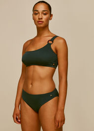 Textured Bikini Bottom Dark Green