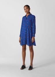 Ditsy Floral Print Shirt Dress Blue/Multi