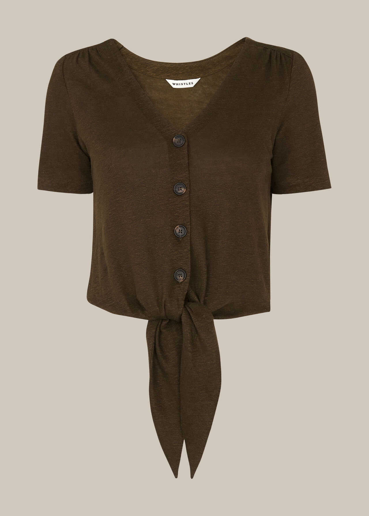 Linen Button Front Tie Top Khaki