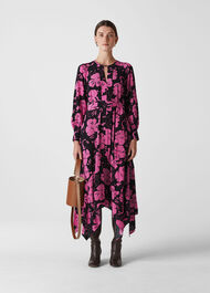 Ari Hibiscus Belted Dress Pink/Multi