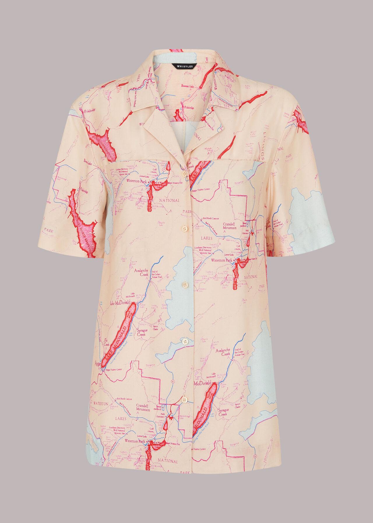 Map Print Silk Mix Shirt