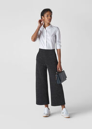 Metallic Wide Leg Trouser Black