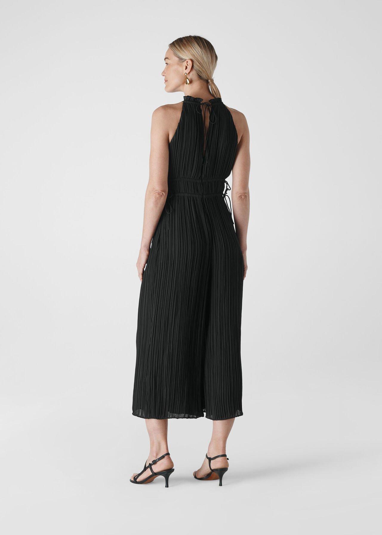 Plisse Pleated Jumpsuit Black