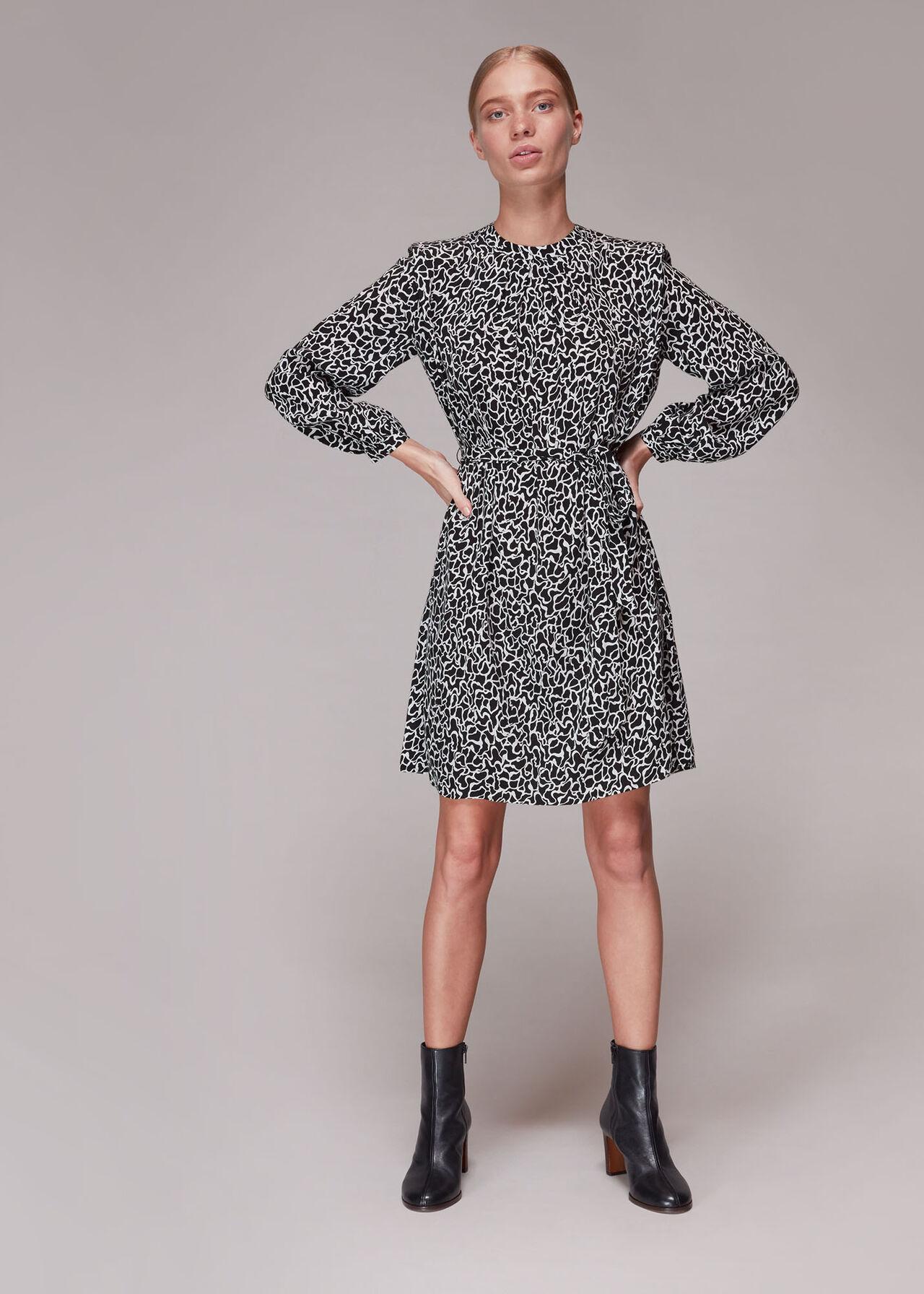 Swirl Print Belted Dress