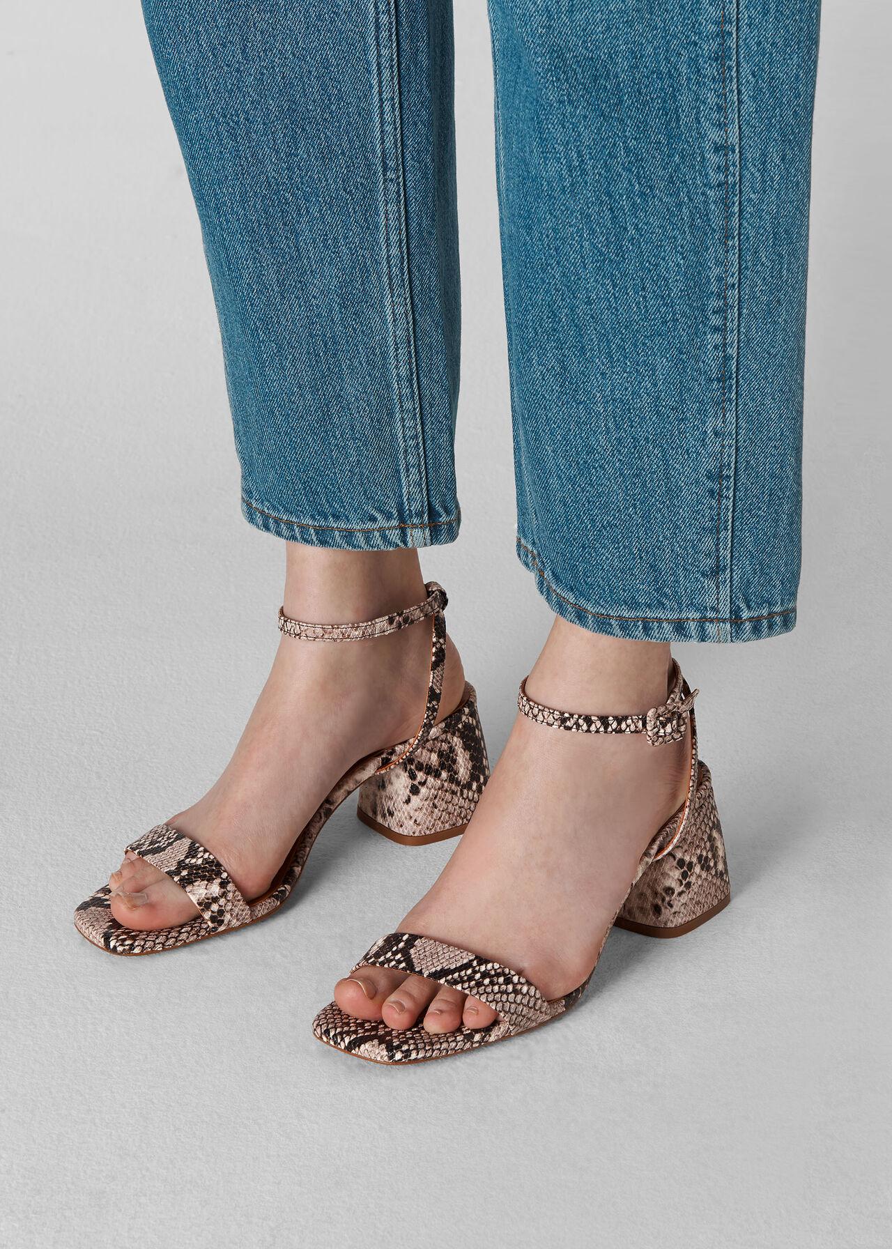 Hale Block Heel Sandal Snake Print
