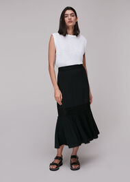 Ada Crochet Detail Skirt Black