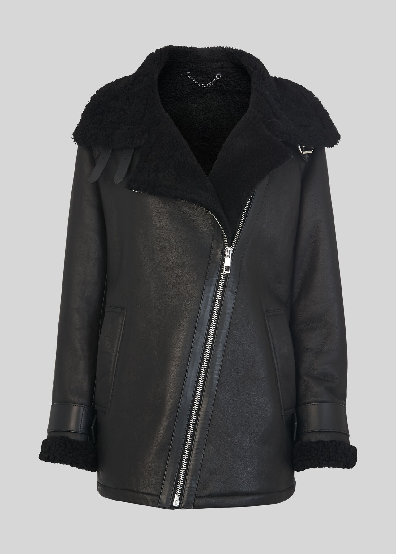 Shearling Brianna Biker Jacket Black