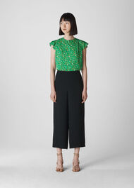 Ditsy Blossom Pleated Blouse Green/Multi