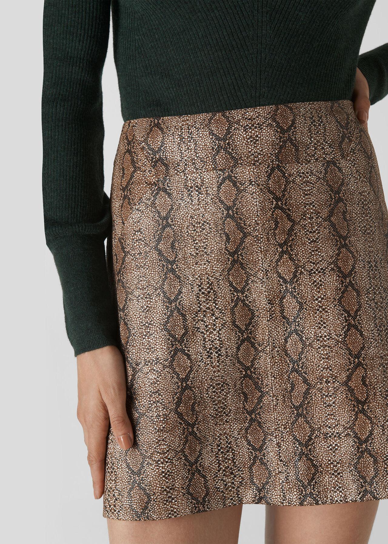 Snake Leather Aline Skirt Snake Print