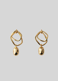 Double Hoop Hammered Earring Gold/Multi