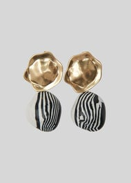 Striped Stone Drop Earring Gold
