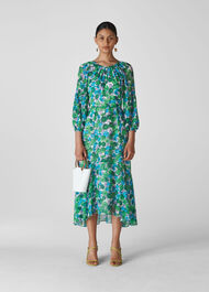Alva Zinnia Floral Dress Blue/Multi