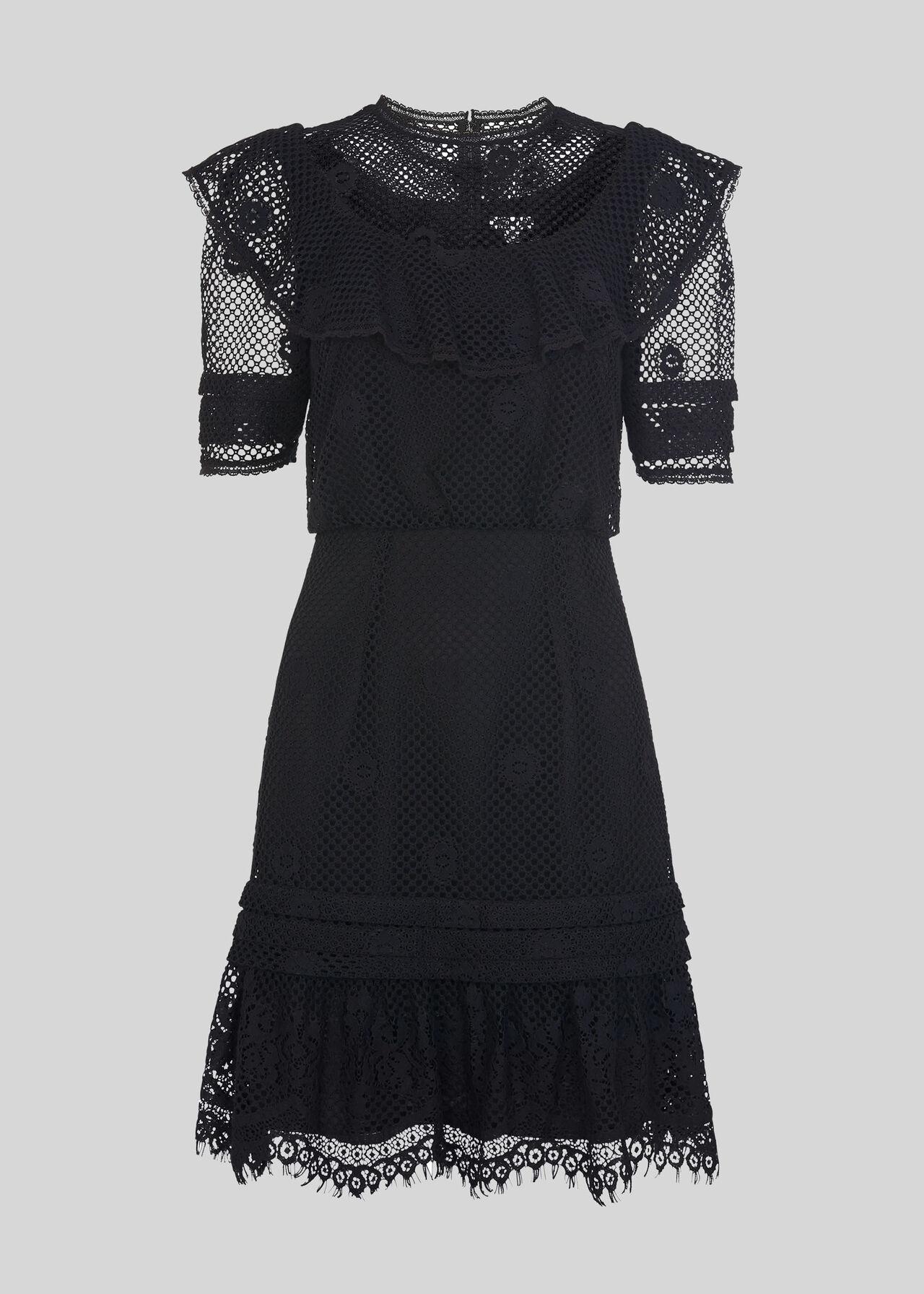 Mariah Lace Ruffle Dress Black