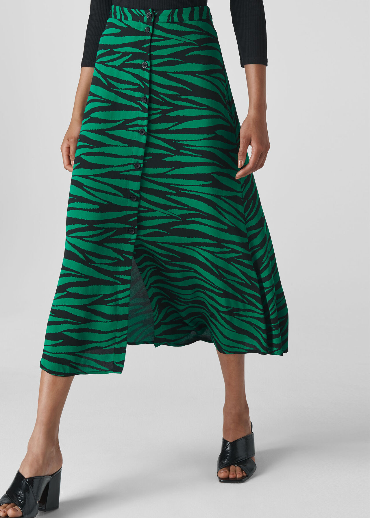 Tiger Print Button Front Skirt Green/Multi