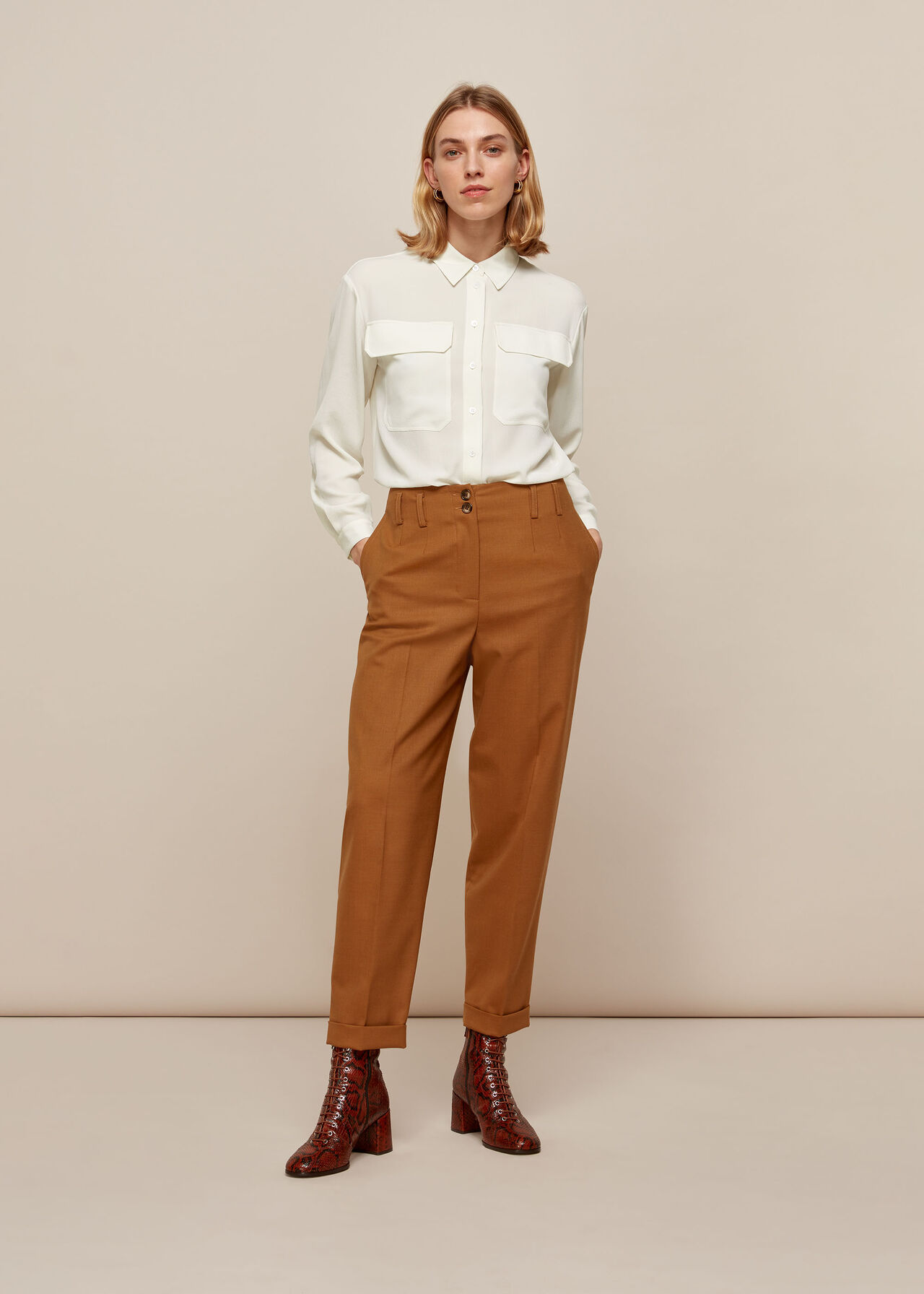 Textured Pocket Blouse Ivory