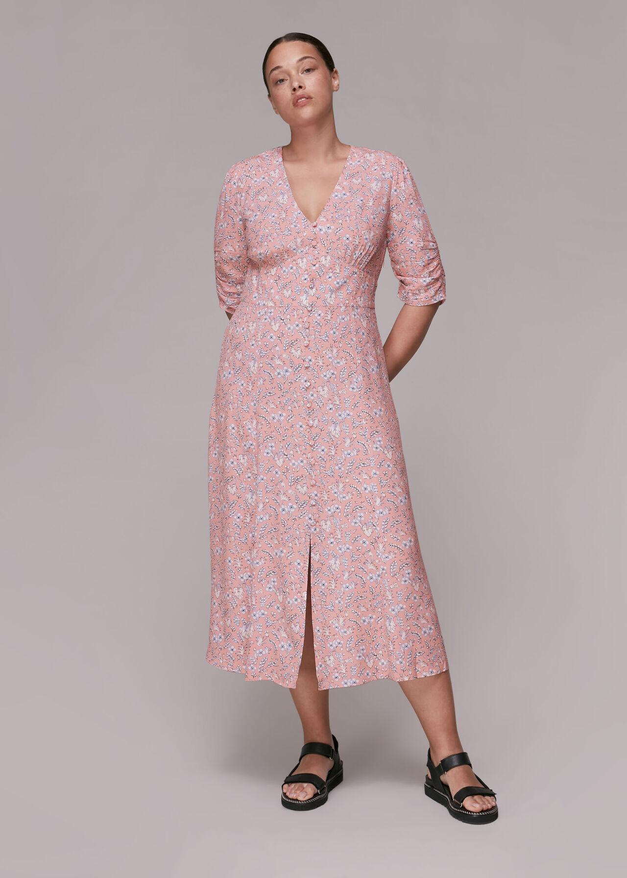 Wheat Floral Midi Dress