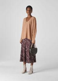 V Neck Rib Wool Sweater Camel