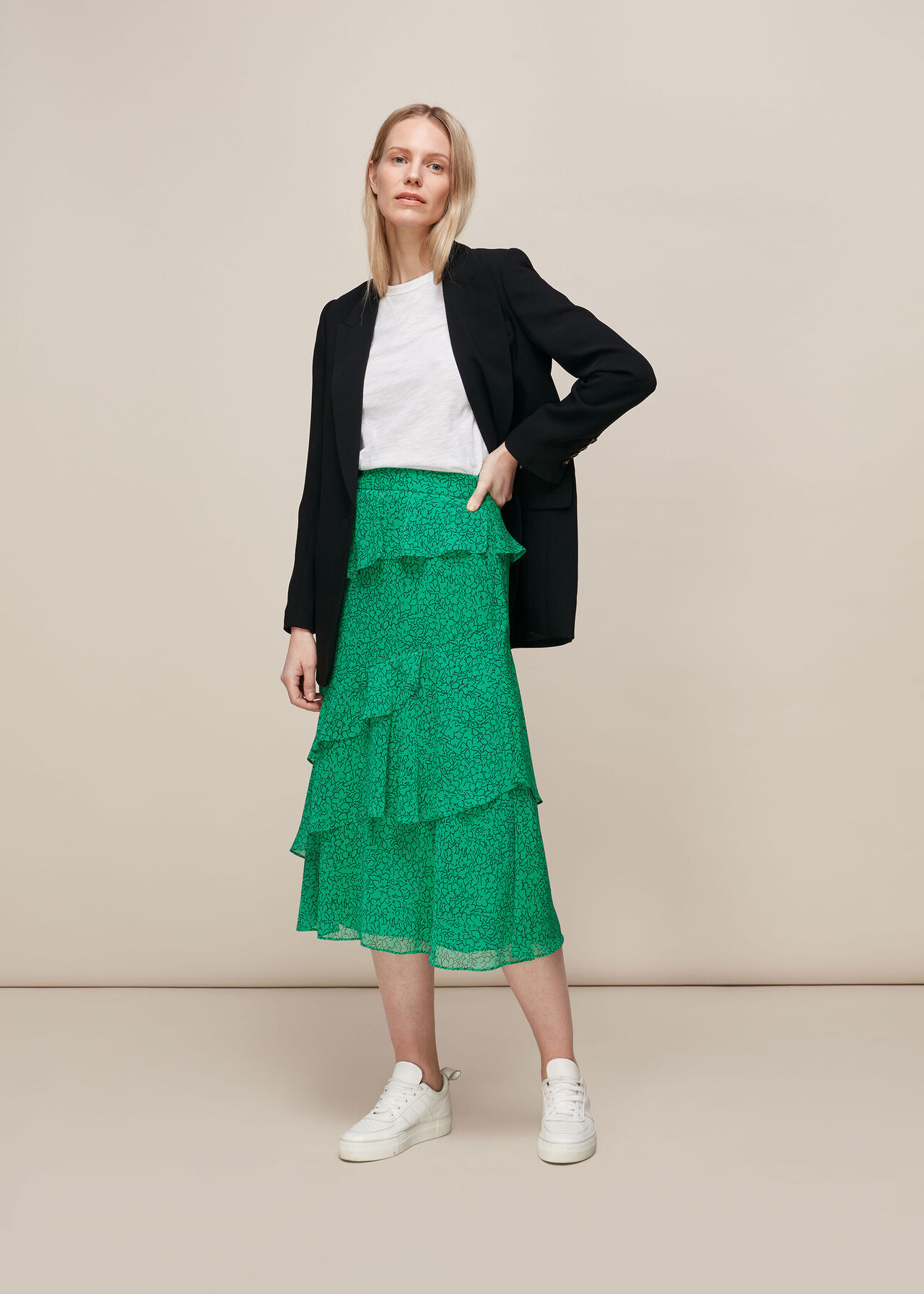 Sketched Floral Tiered Skirt Green/Multi