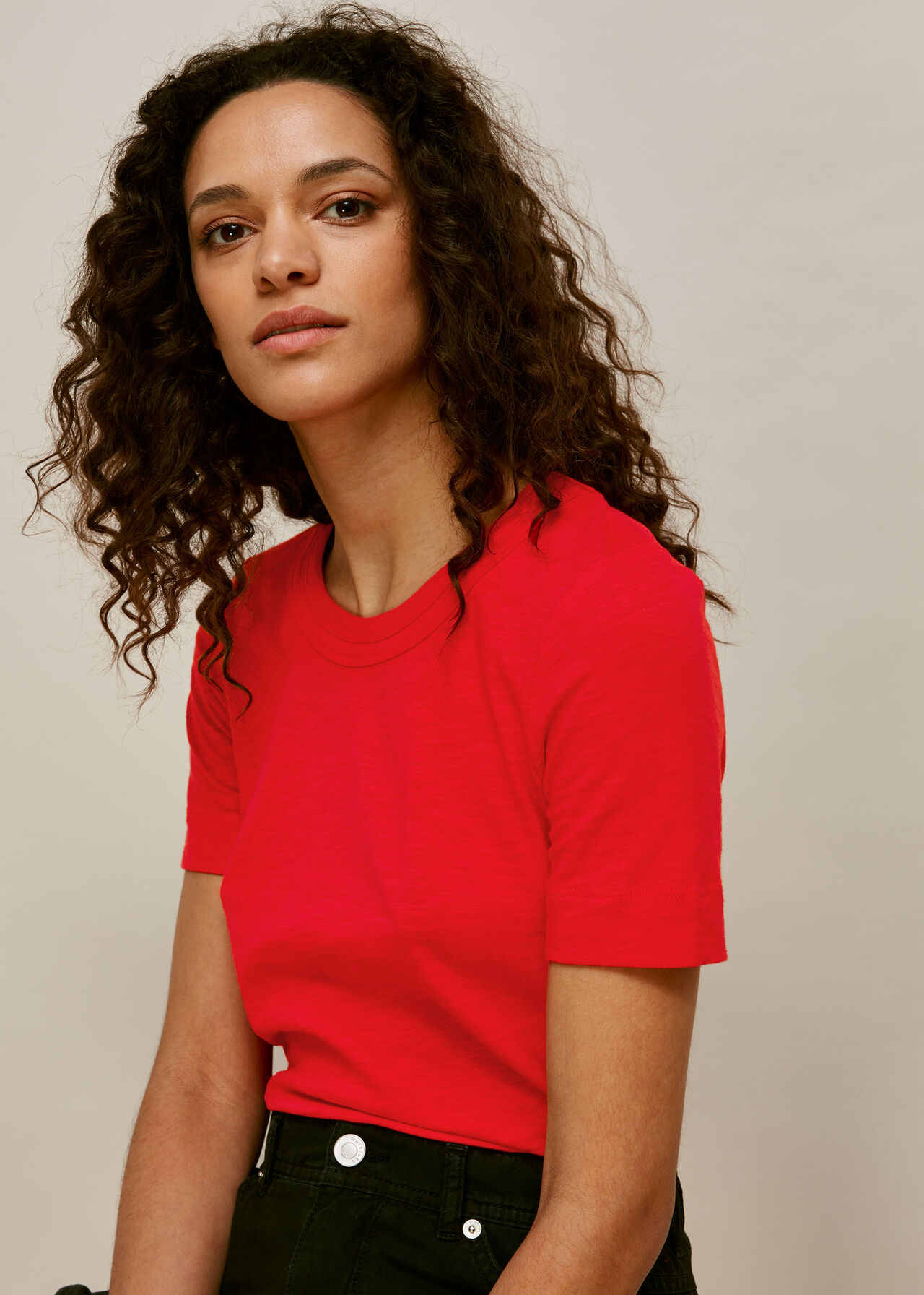 Rosa Double Trim T-Shirt Red