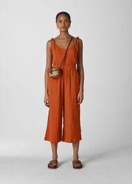 Mila Textured Casual Jumpsuit Rust