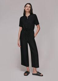 Button Front Linen Jumpsuit