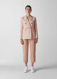 Linen Breasted Blazer Pale Pink