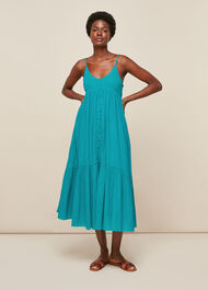 Trapeze Cotton Voile Dress Turquoise