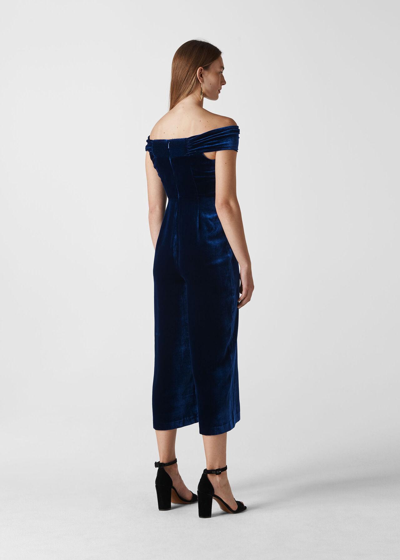 Velvet Silk Mix Jumpsuit Blue