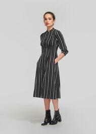 Leesa Stripe Shirt Dress Black and White