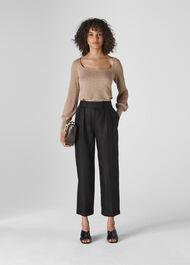 Lydia Linen Pleated Trouser Black