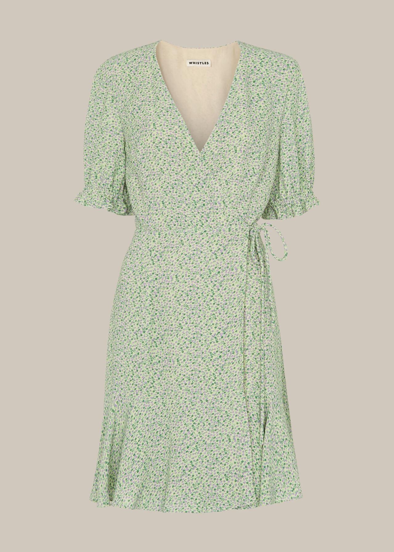 English Garden Wrap Dress Green/Multi