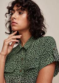 Spotted Animal Pocket Shirt Green/Multi