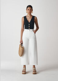 Gabi High Waist Wide Leg Jean White