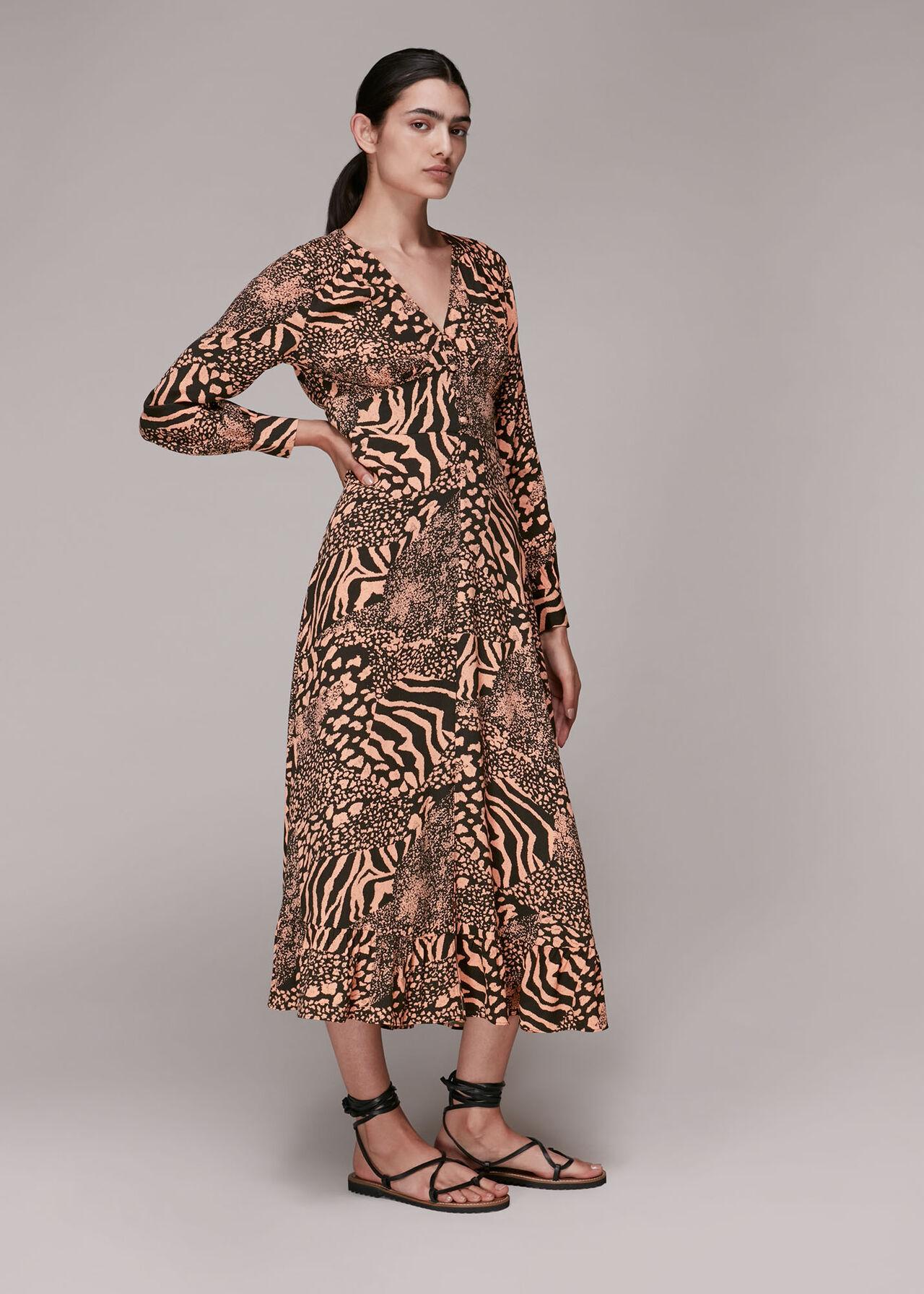 Patchwork Animal Midi Dress