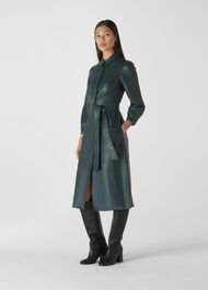 Phoebe Leather Shirt Dress Green